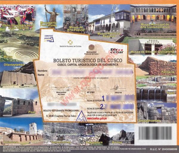 Boleto turistico - vollständige Ticket