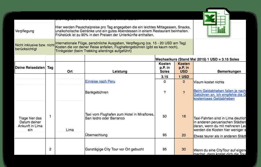 Hol dir meine kostenlose Excel-Liste mit allen Reisekosten für Peru!