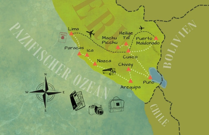 Karte mit Routen - Klassisch800