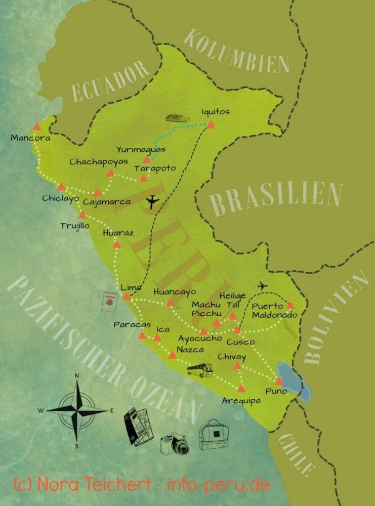Peru Karte.Peru Reiseziele Auf Der Karte Info Peru