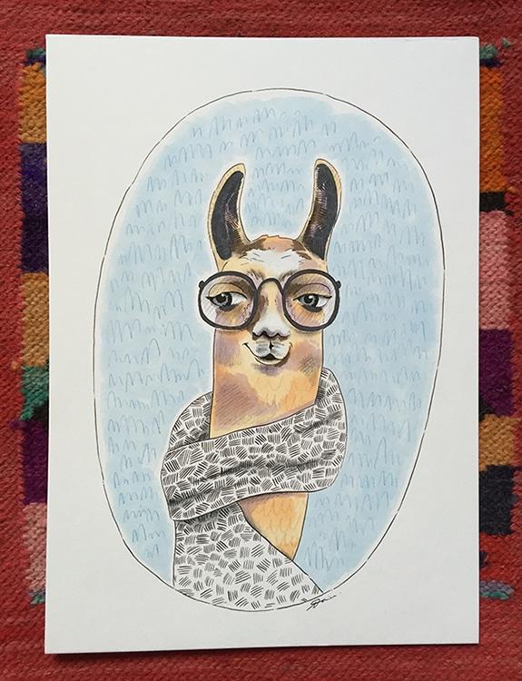 hipster_lama_illustration_alpaka_peru_kunst_art_südamerika_grafik_design
