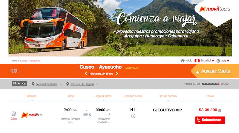 Ayacucho mit dem Bus